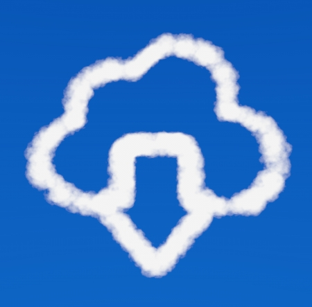 white downloads arrow from cloud icon on a blue  photo