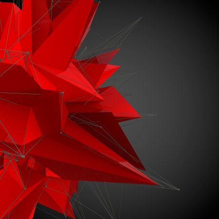 abstract red modern triangular shape on a black background photo