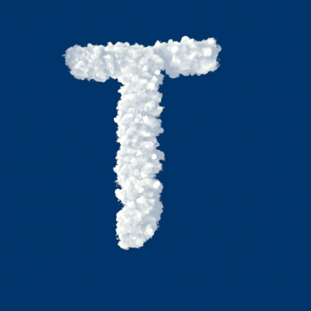 Clouds in shape of letter T on a blue background photo
