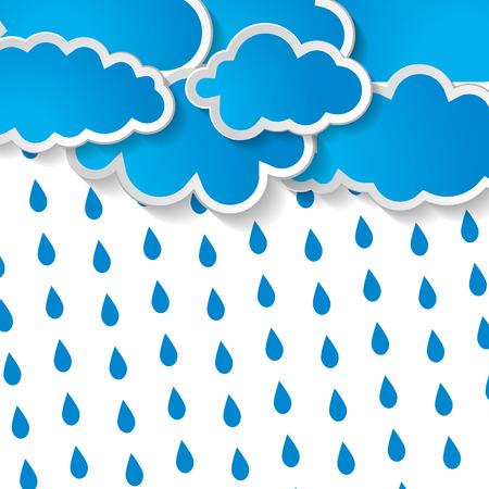 blauwe wolken met regen druppels op een witte achtergrond