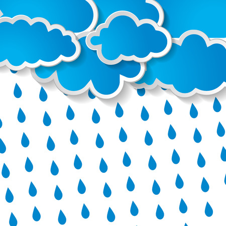 blue clouds with rain drops on a white background