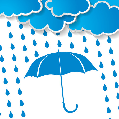 clouds with  blue umbrella and rain drops on a white background Stock Vector - 25068155