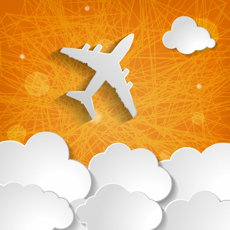 paper airplane with paper clouds on an orange striped background