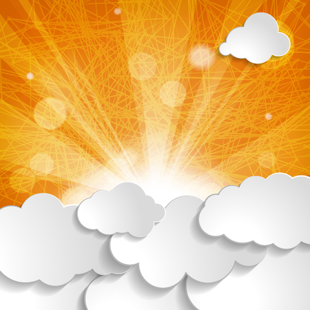 white clouds with sun rays on an orange striped background