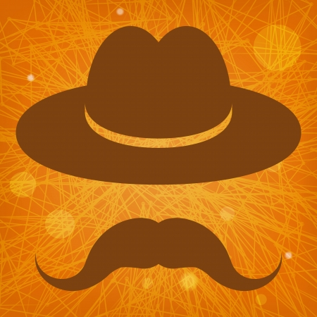 hat with mustache on an orange striped background