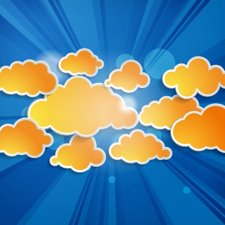 Abstract orange speech bubbles in the shape of clouds with rays on a blue background  Vector