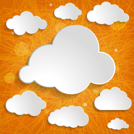 white clouds collection on an orange striped background