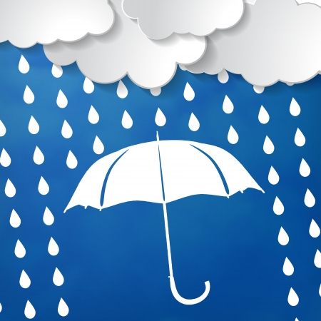 rain: clouds with white umbrella and rain drops on a blue background