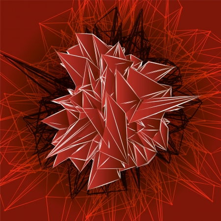 abstract red modern triangular shape with lines on a red background  Vector