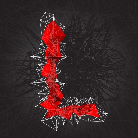 l red: abstract vector red modern triangular emblem of L on a dark background
