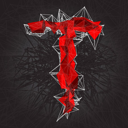 t background: abstract vector red modern triangular emblem of T on a dark background Illustration