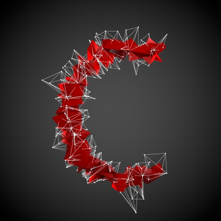 abstract red modern triangular shape of letter C on a black background  photo