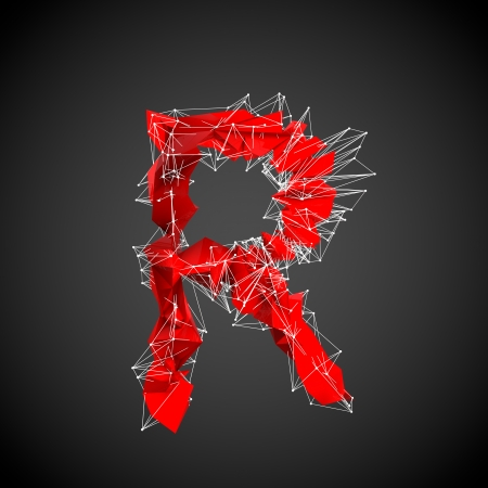 abstract red modern triangular shape of letter R on a black background photo