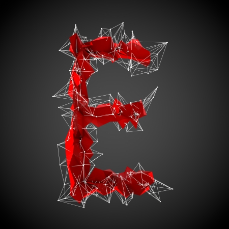 abstract red modern triangular shape of letter E on a black background photo