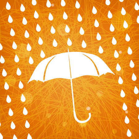 white umbrella and rain drops on abstract modern triangular orange background  Vector