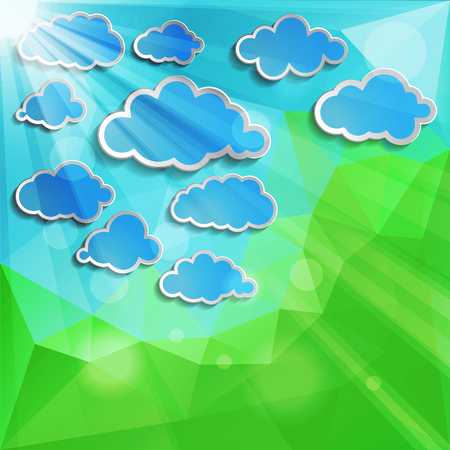 blue clouds with sun light on a natural green abstract Triangle Polygonal Background  Vector