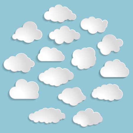 ร   ร   ร   ร  ร ยข  white clouds: Vector illustration of white clouds collection on the blue background