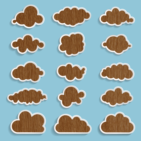 wooden clouds collection on a blue background Vector