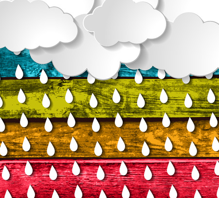 blue clouds: blue clouds with rain drops on a Colorful Wooden Planks Background