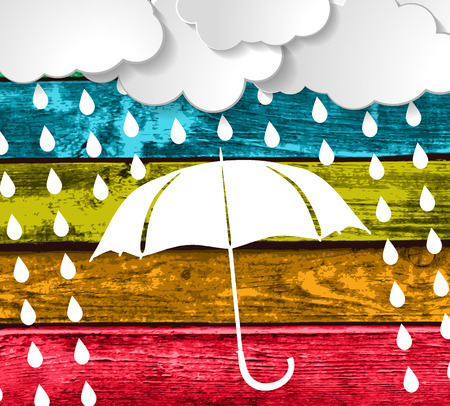 clouds with white umbrella and rain drops on a Colorful Wooden Planks Background  Stock Vector - 25763144