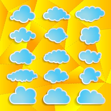 blue clouds collection on the yellow abstract geometrical background Vector