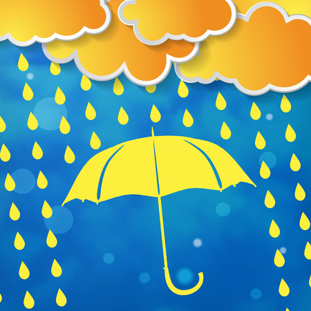 yellow umbrella: clouds with yellow umbrella and rain drops on a blue background