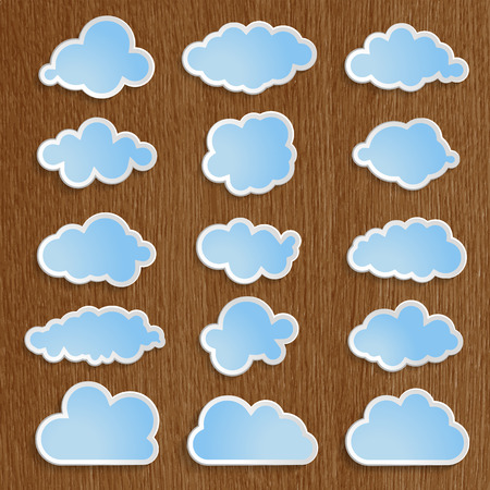 blue clouds collection on a wooden background  Vector