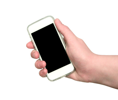 Woman hand showing smart phone with isolated screen in hand photo