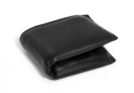 Black leather wallet isolated over white background  photo