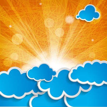 blue clouds: sun with rays and blue clouds on an orange background