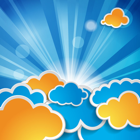 sun with rays and clouds on a blue background  Vector