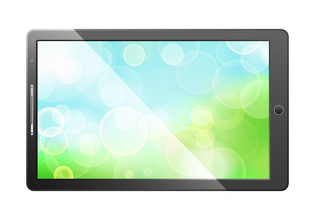 green bokeh screen in tablet pc, isolated on white background Stock Vector - 27282637