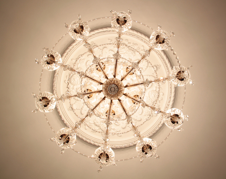 Close-up of a beautiful crystal chandelier photo