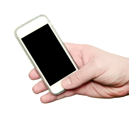 Man showing smart phone with isolated screen in hand photo