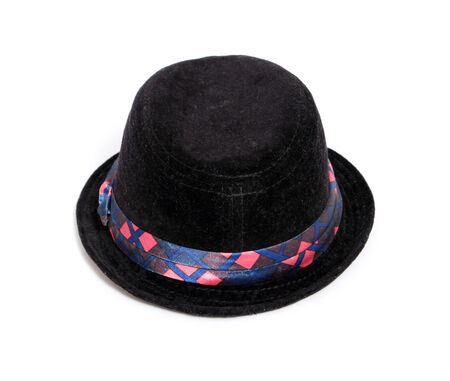 stitched: Kid black hat on white background