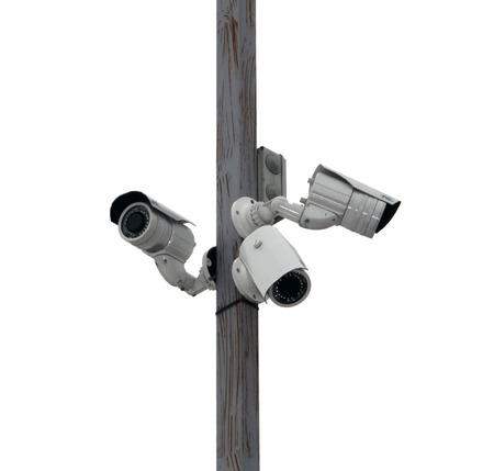 anti terrorist: three outside security cameras cover multiple angles