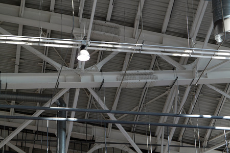 Ceiling in a warehouse, ventilation and illumination photo