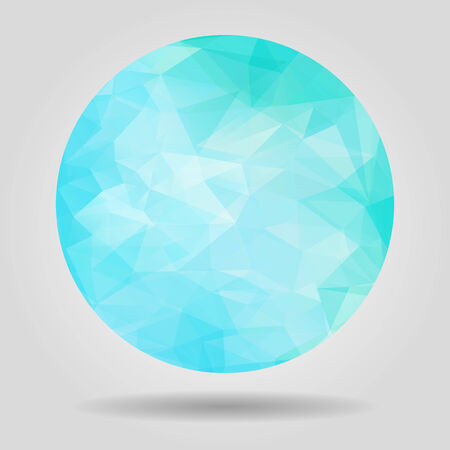 Abstract geometric blue circular shape from triangular faces for graphic design Vector