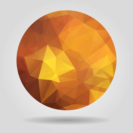 crumpled paper ball: Abstract geometric orange circular shape from triangular faces for graphic design