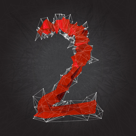 chaos theory: abstract red modern triangular sign of number two on a black geometric background