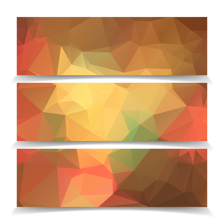 Abstract Orange Triangular Polygonal banners set Vector