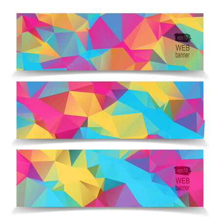 Abstract Colorful Triangular Polygonal banners set Vector