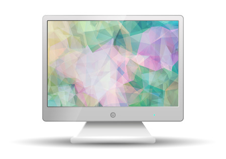 flat screen tv: Flat tv with Modern Abstract Colorful Triangle Polygonal screen isolated on white background