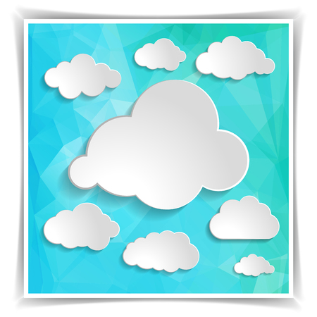 set of clouds on the Abstract Blue Triangular Polygonal background Vector