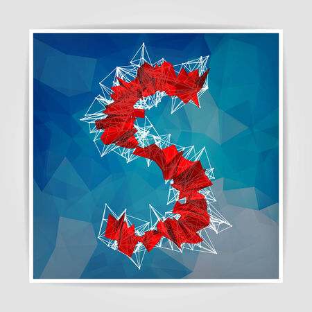 abstract red modern triangular emblem of S on a geometric background Vector