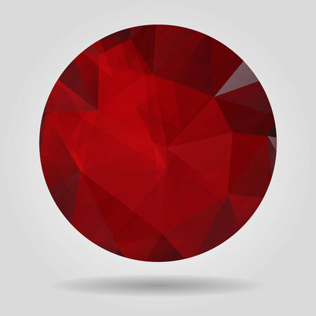 crumpled paper ball: Abstract geometric red circular shape from triangular faces for graphic design