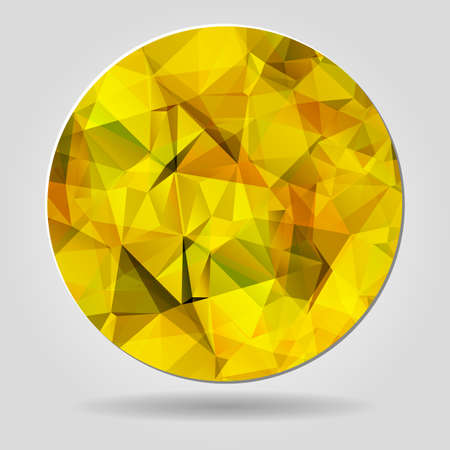 crumpled paper ball: Abstract geometric yellow circular shape from triangular faces for graphic design