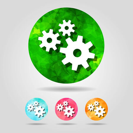 set of abstract geometric spherical icons with gears  from triangular faces for graphic design Vector