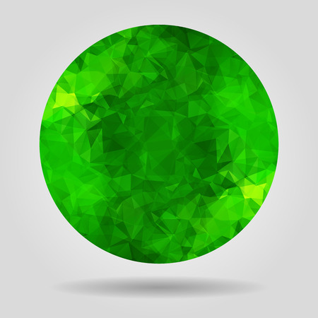 Abstract geometric green spherical shape from triangular faces for graphic design Vector