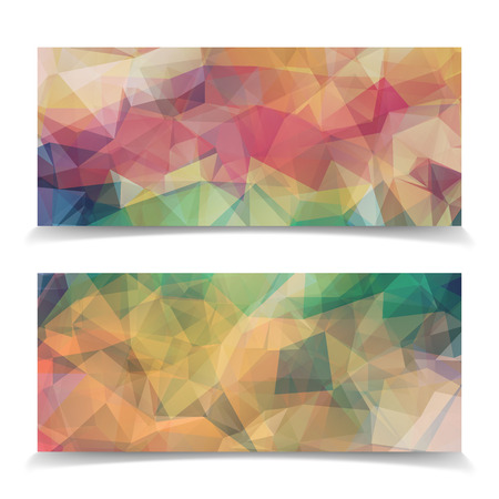 pastel colored: set of Abstract pastel colored Triangular Polygonal headers Illustration